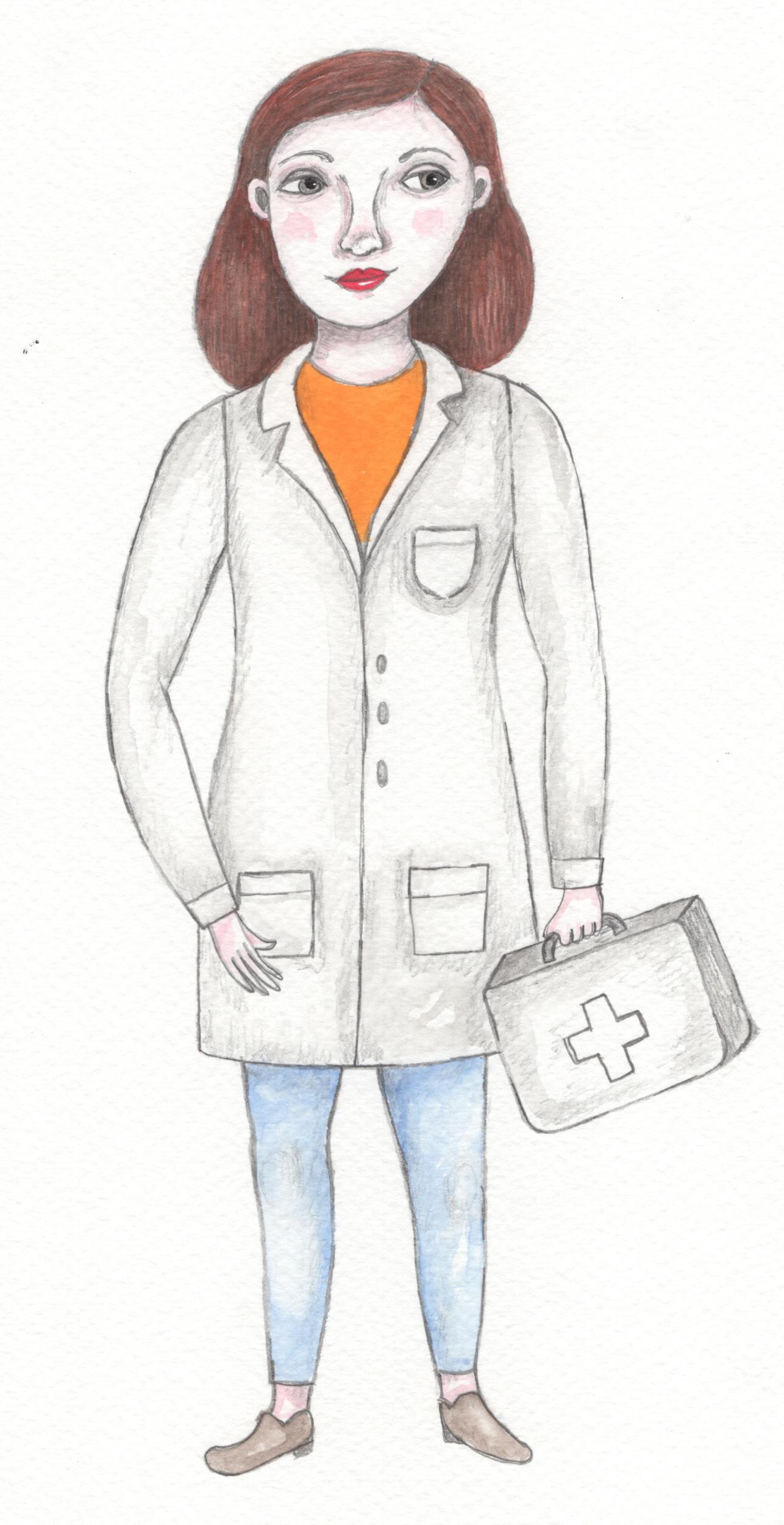 Dibujo enfermera Nus de pie